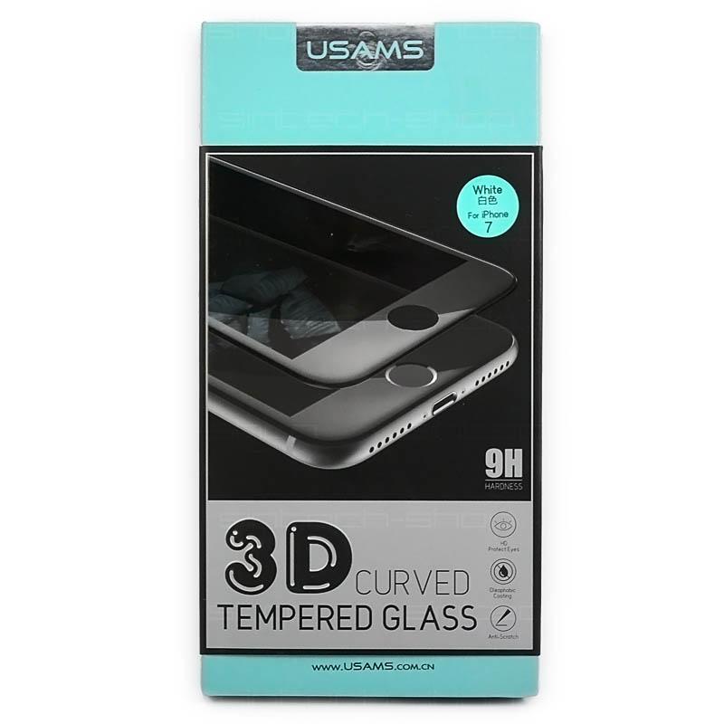 USAMS 3D Tvrzené Sklo 9H bílé pro iPhone 7