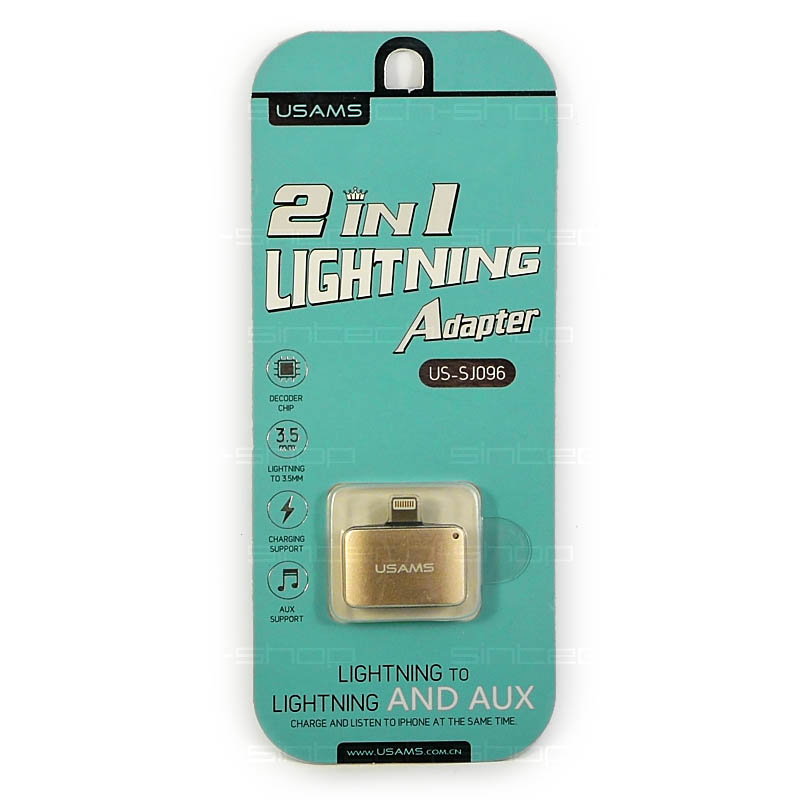 USAMS SJ096 Adapter Lightning/3,5mm-Lightning 2v1 zlatý