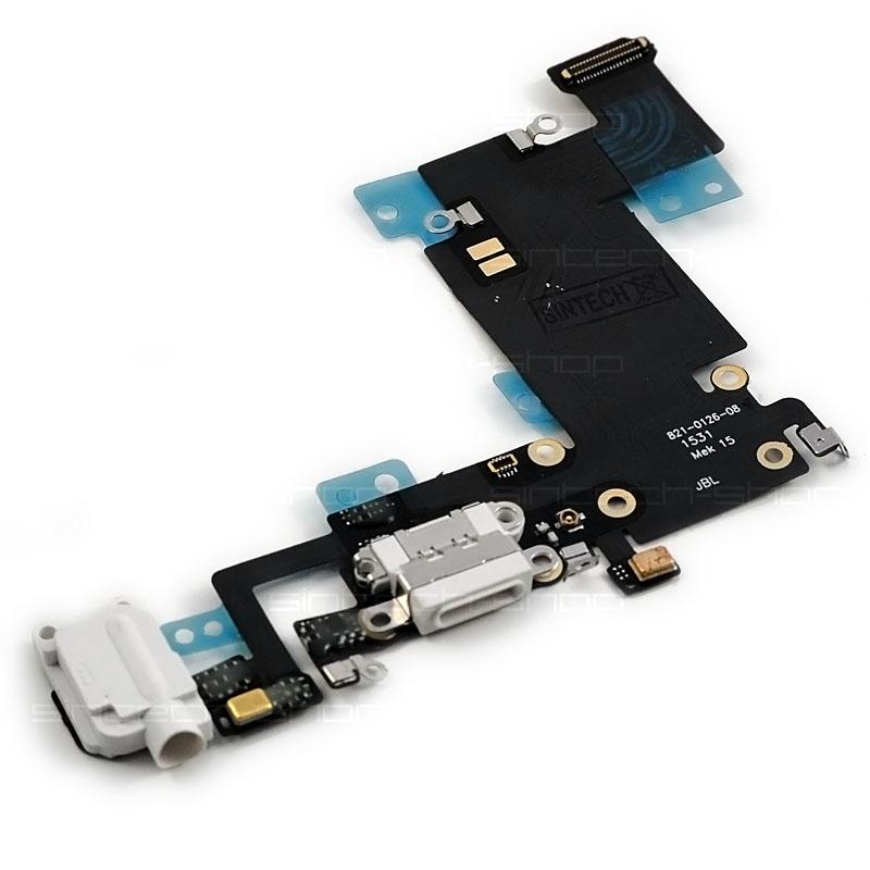 """iPhone 6S Plus (5,5"""") docking port se sluchátkovým jackem a flexem, bílý"""
