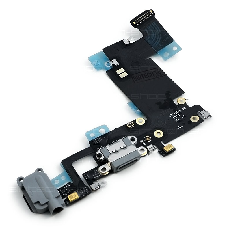"""iPhone 6S Plus (5,5"""") docking port se sluchátkovým jackem a flexem, šedý"""