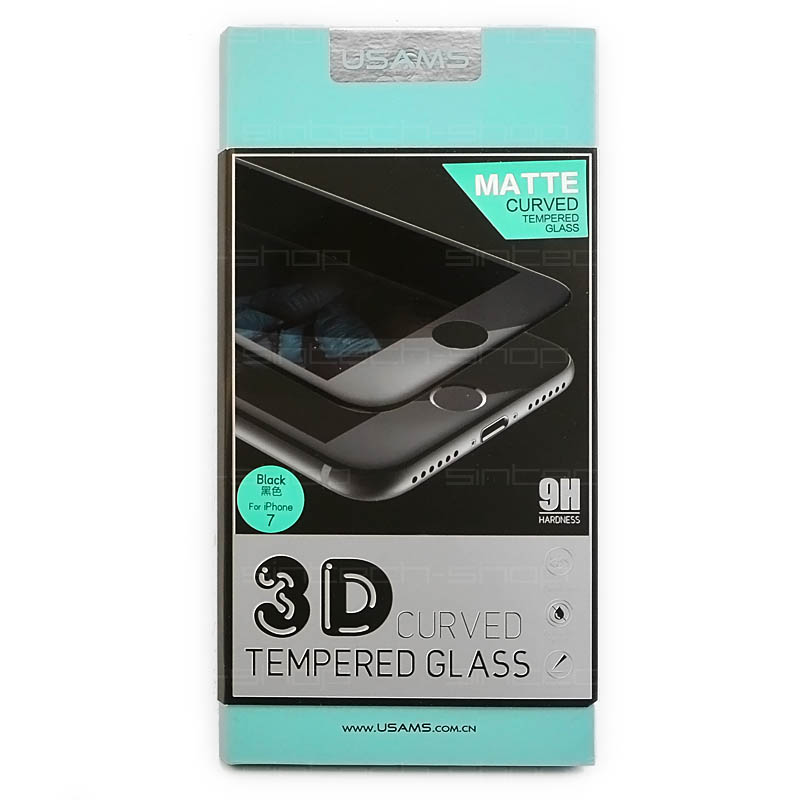 USAMS 3D Tvrzené Sklo 9H matné černé pro iPhone 7
