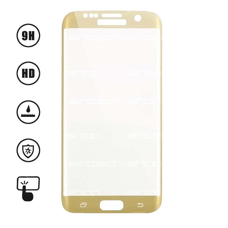 3D Ochranné Tvrzené Sklo 9H pro Samsung Galaxy S7 Edge Barevná varianta: Zlatá