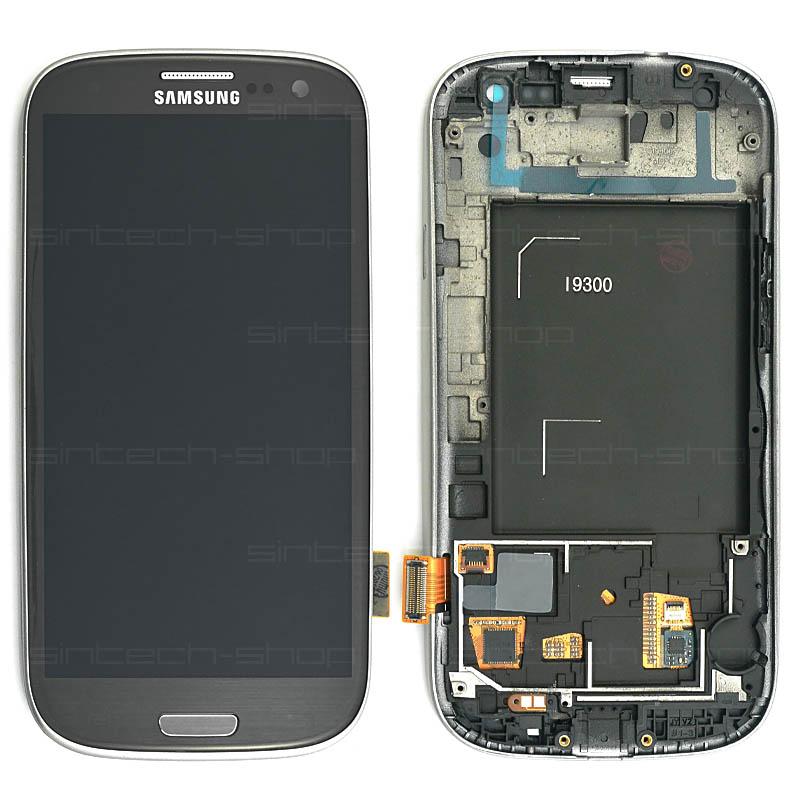 Samsung Galaxy S3 i9300 kompletní displej s rámem a LCD Barva: Černá