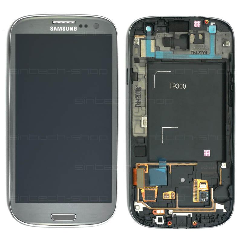Samsung Galaxy S3 i9300 kompletní displej s rámem a LCD Barva: Šedá