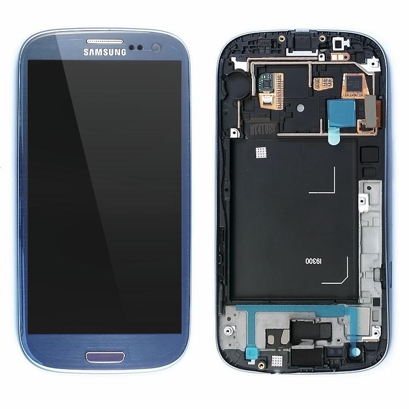 Samsung i9300 Galaxy S3 Blue LCD Display + dotyk + přední kryt