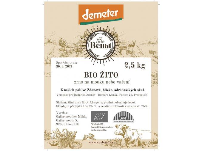 Etiketa zrno Žito 2,5 kg