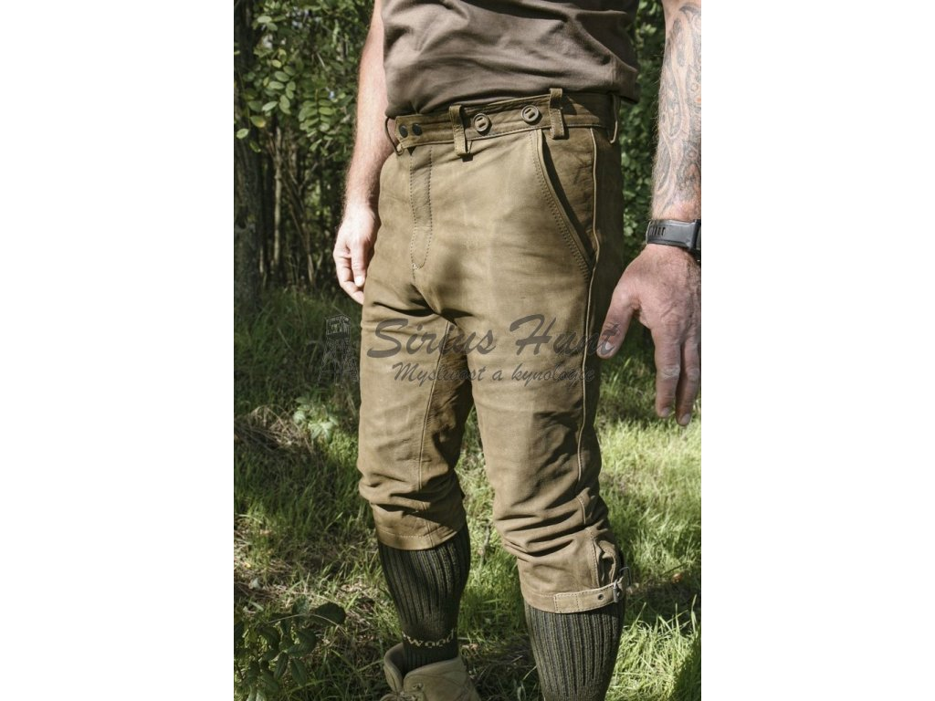 Kalhoty kožené pumpky zelené Carl Mayer Braunau