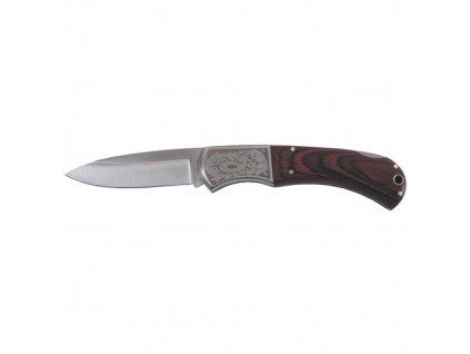 Nůž zavírací dřevěná střenka dekor 21 cm HNĚDÝ