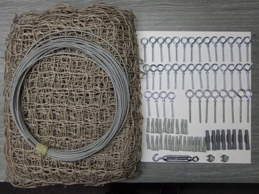 síť na balkon a lodžii pro kočku 6m x 1,6 kompletní set oko 40 x 40 mm vlákno 2x2 mm +lankový rám pozinkovaný