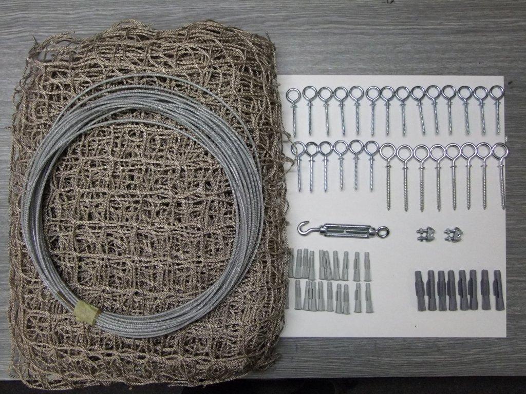 síť na balkon a lodžii pro kočku 4m x 1,6m kompletní set oko 40 x 40 mm vlákno 2x2 mm +lankový rám pozinkovaný
