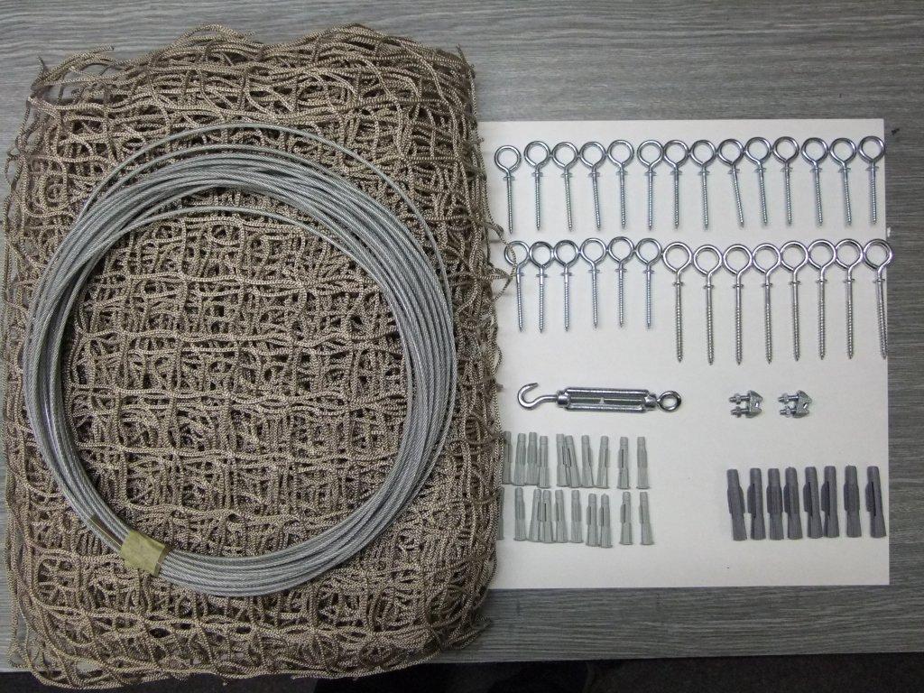 síť na balkon a lodžii pro kočku 2m x2.72 kompletní set oko 40 x 40 mm vlákno 2x2 mm +lankový rám pozinkovaný