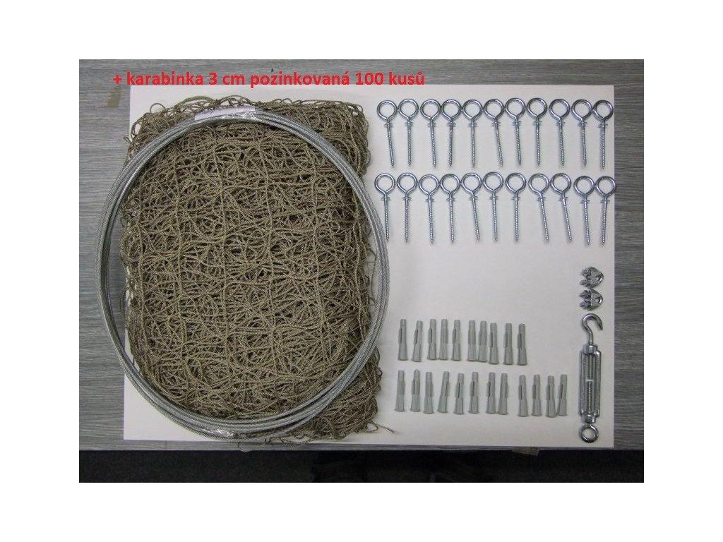 Síťový systém odepínací proti holubům 4m x 1,7 m komplet včetně kotvení do zdiva či zateplení nebo kovu + lankový rám pozinkovaný