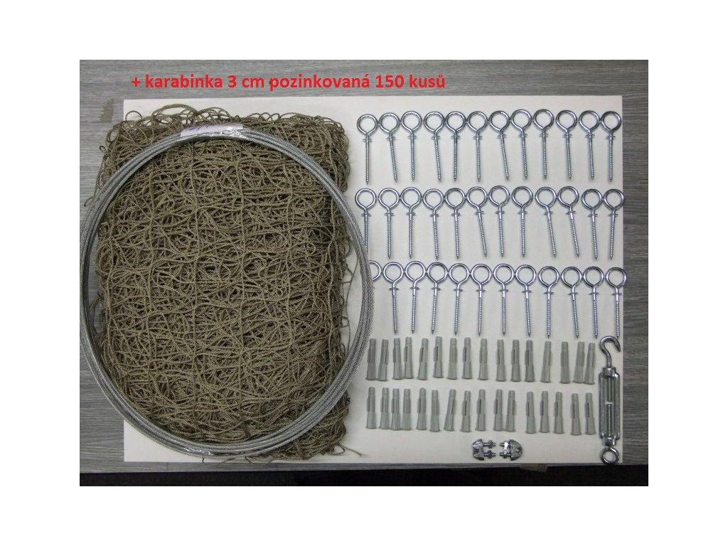 Síťový systém odepínací proti holubům 6m x 2,7 m komplet včetně kotvení do zdiva či zateplení nebo kovu + lankový rám pozinkovaný