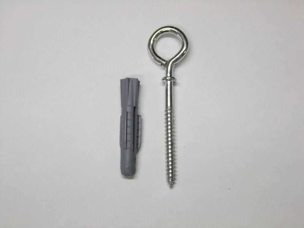 Ocelové očko dlouhé  žárově pozinkované + hmoždina 8mm