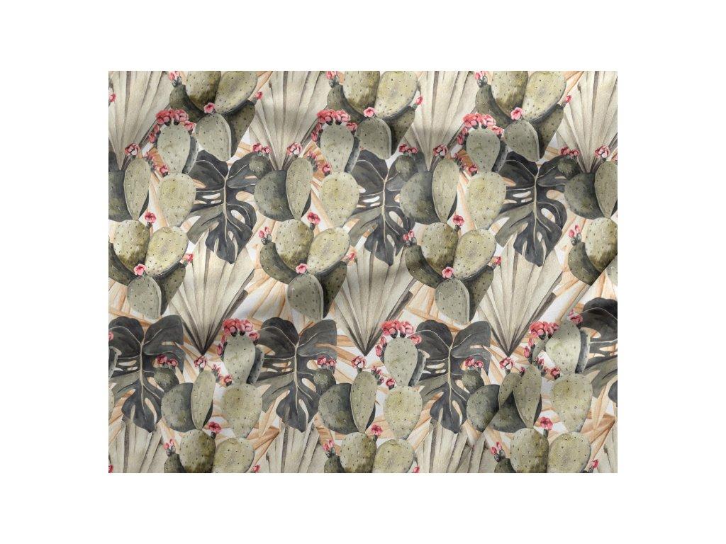 302 bavlneny saten kaktusy