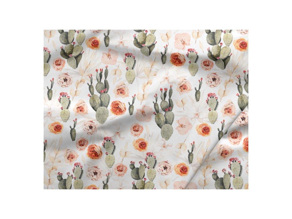 311 bavlneny saten ruze s kaktusy