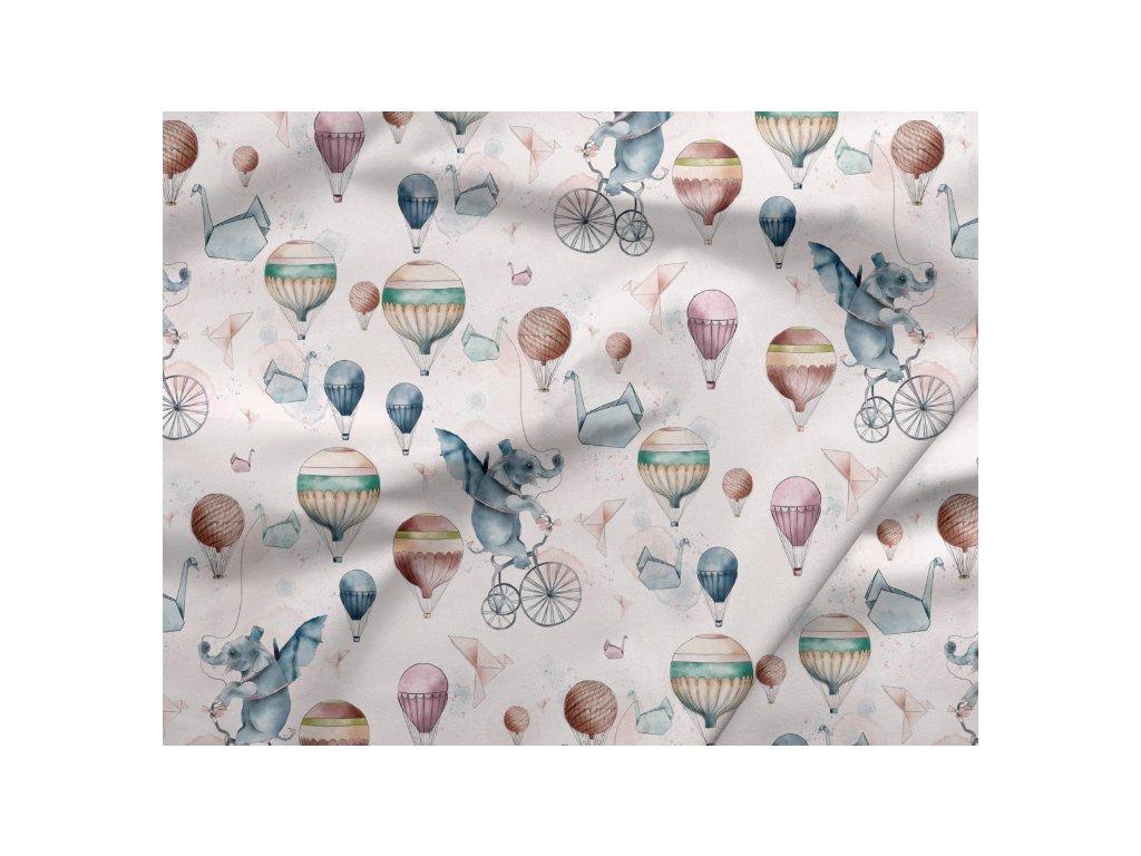 317 bavlneny saten slonici s balony