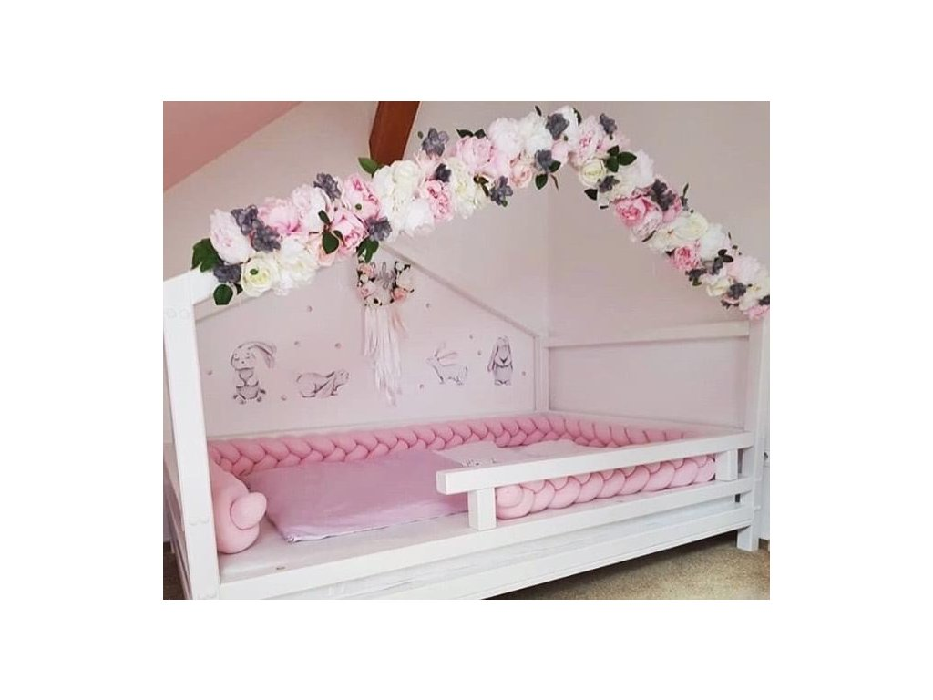Pletený mantinel růžová teplákovina