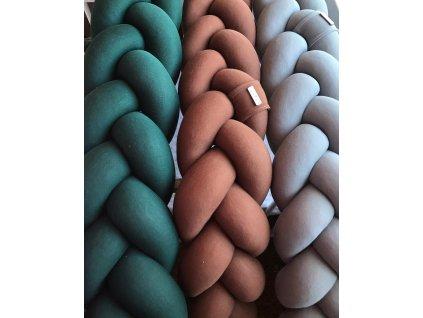 Pletený mantinel tmavě zelená teplákovina