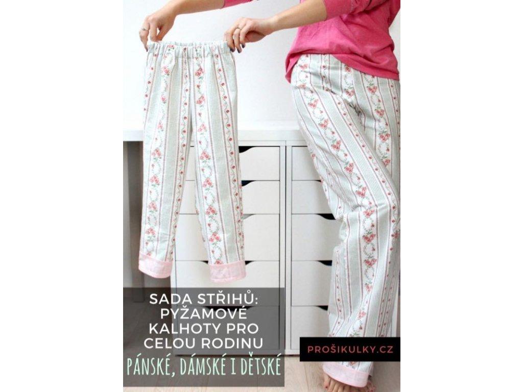 Sada střihů - pyžamové kalhoty pro celou rodinu
