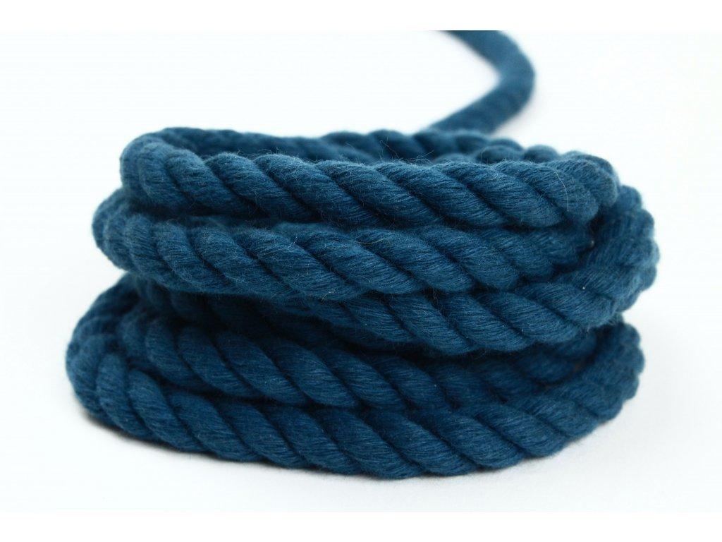 Stáčené lano Velvetina - modrá petroleová