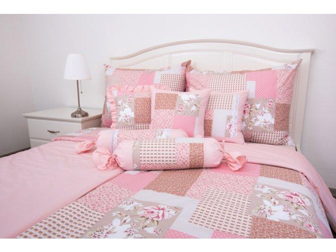 patchwork růžový uni pink