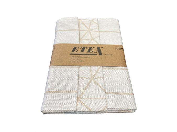 utěrka egyptská bavlna béžová geometrie