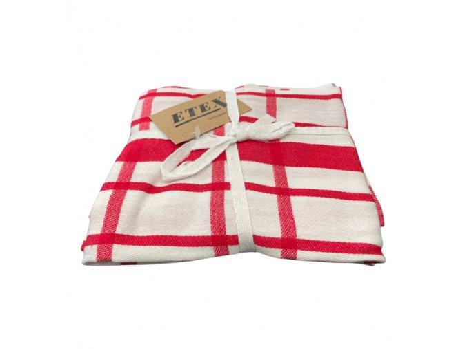 utěrka egyptská bavlna červená kostka