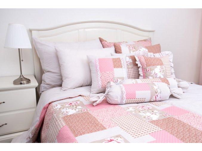patchwork pink puntík béžový 2