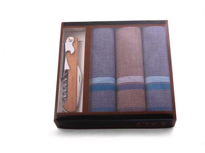 Pánský kapesník s nožíkem - 3 ks