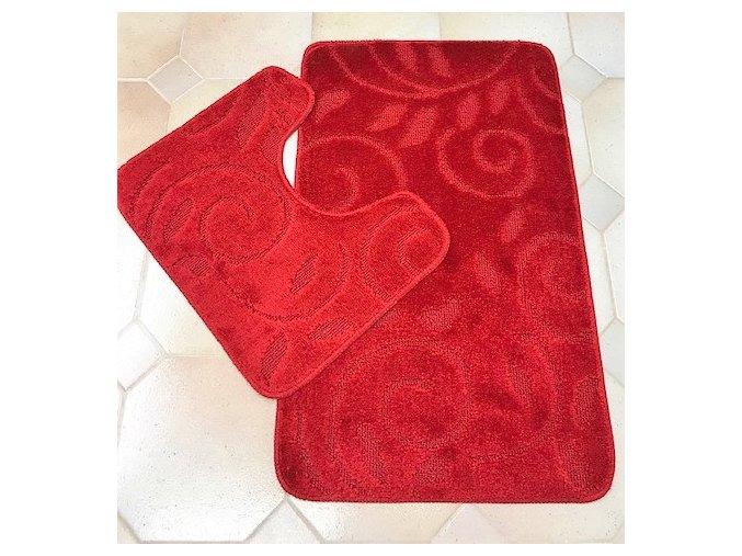 Koupelnová předložka dvoudílná - červená