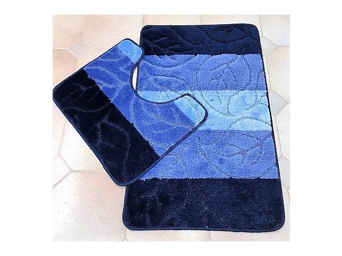 Koupelnová předložka dvoudílná - modré pruhy