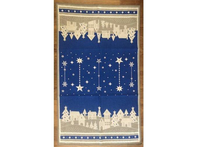 Vánoční utěrka - zimní vesnička - modrá