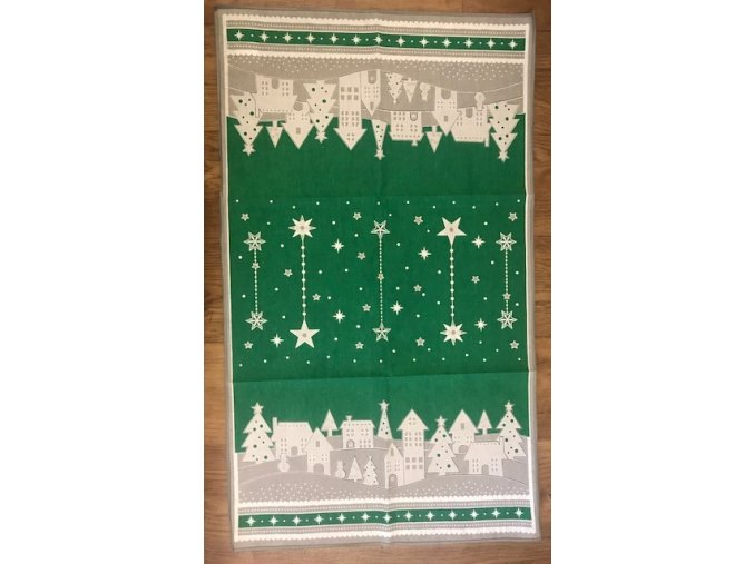 Vánoční utěrka - zimní vesnička - zelená
