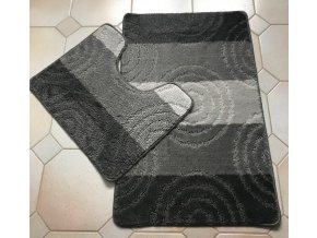 Koupelnová předložka dvoudílná - šedé pruhy