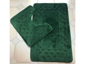 Koupelnová předložka dvoudílná - tmavě zelená