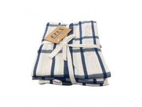 utěrka egyptska bavlna modrá kostka