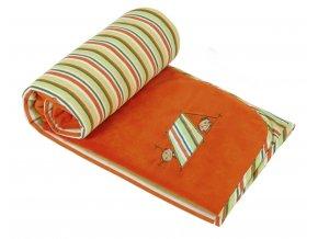 Přikrývka Bára s výšivkou 75/100 cm - sytě oranžová