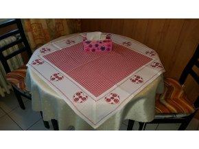 Ubrus jarní - červená kostička