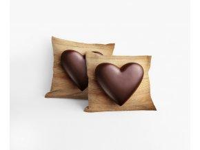 Povlak Čokoládové srdce 40/40 cm