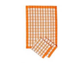 Utěrka - tradiční káro - oranžové
