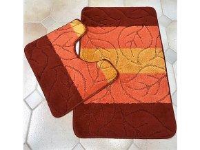 Koupelnová předložka dvoudílná - oranžové pruhy