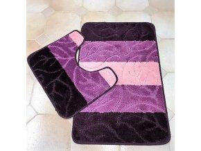 Koupelnová předložka dvoudílná - fialové pruhy