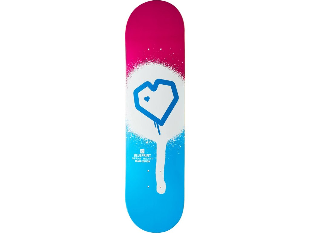 blueprint spray heart skateboard deck op