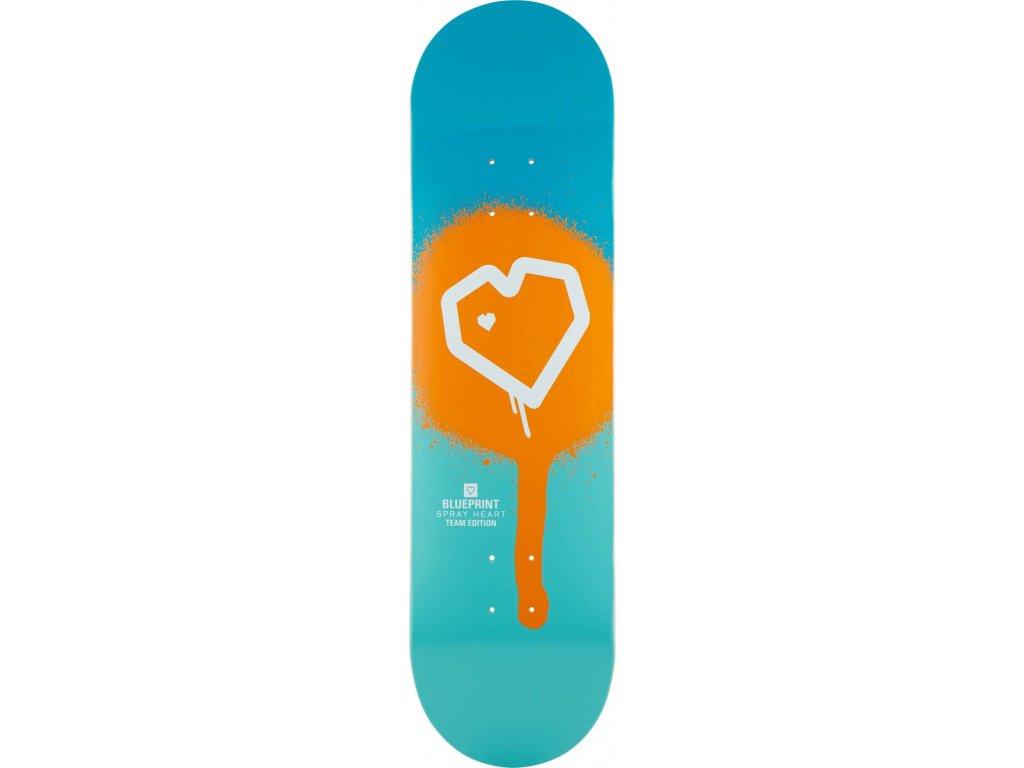 blueprint spray heart skateboard deck 6i