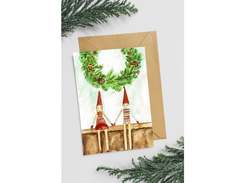 Přání Vánoční panáčci