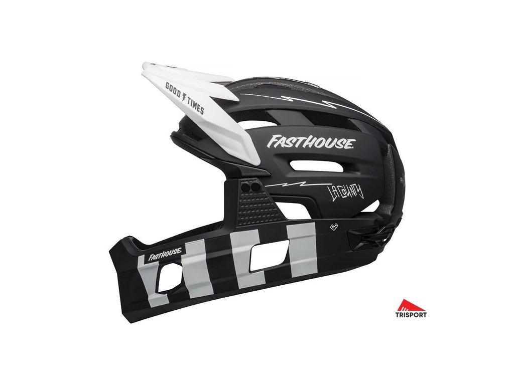 Bell SUPER AIR R SPHERICAL (Barva Mat Black/White Fasthouse, Velikost (oblečení, helmy, páteřáky ....) L)