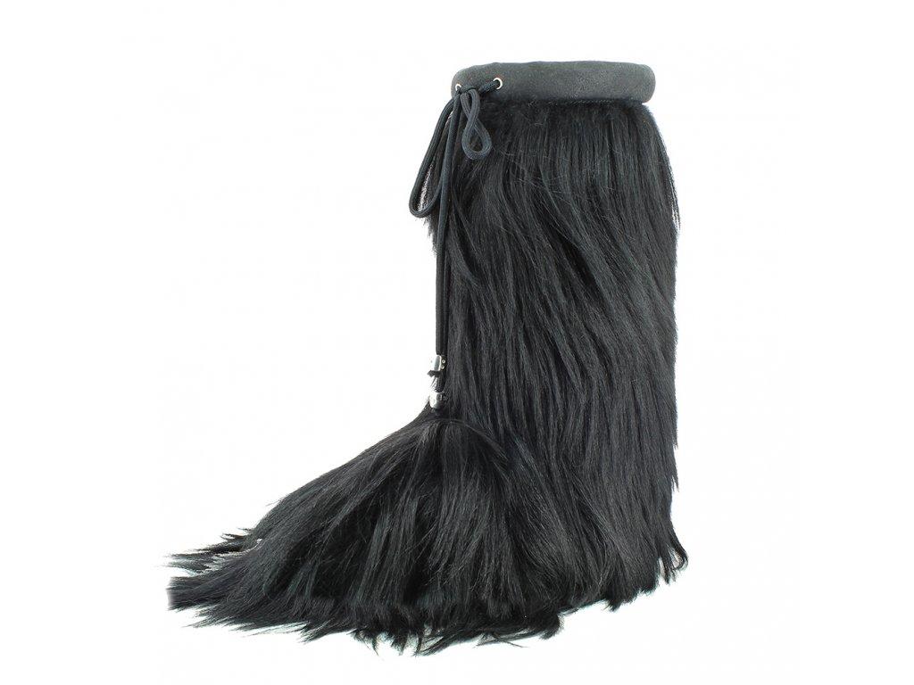 06 Damen Herren Winterstiefel Winterschuhe echtes Fell Ziege8490 Lhasa schwarz Damen Herren
