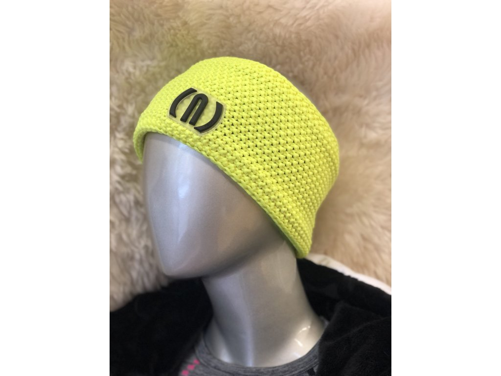 12068 neon crochet headband patch yellow fluo