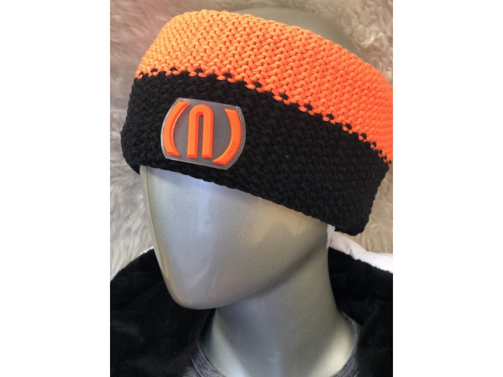 12071 neon crochet colour headband orange fluo black